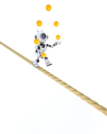 tight: 3D Render of a Robot juggling on a tight rope