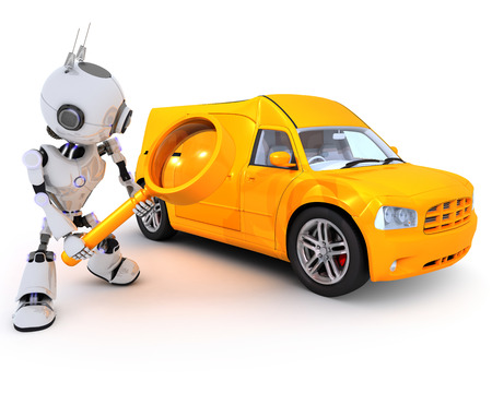 automobiles: 3D Render of a Robot searching for a van