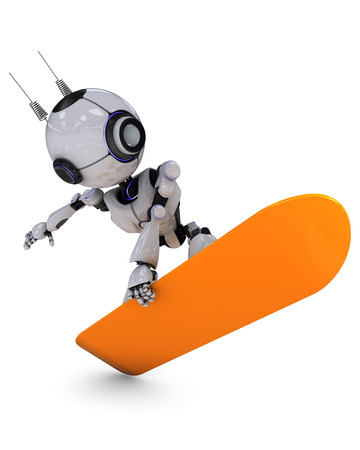 chrome man: 3D Render of a Robot Snowboarder Stock Photo
