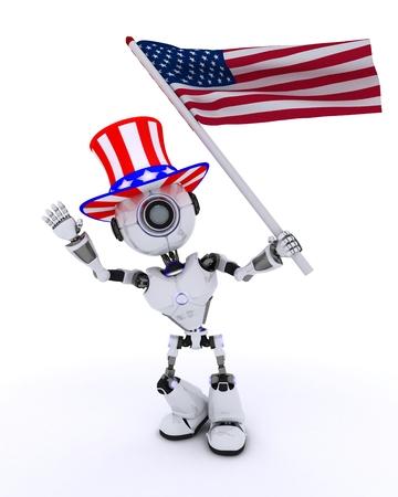 chrome man: 3D Render of a Robot celebrating 4th july Stock Photo