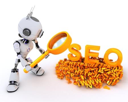 chrome man: 3D Render of a Robot search engine optimisation