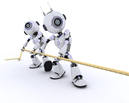 chrome man: 3D Render of Robots pulling rope Stock Photo