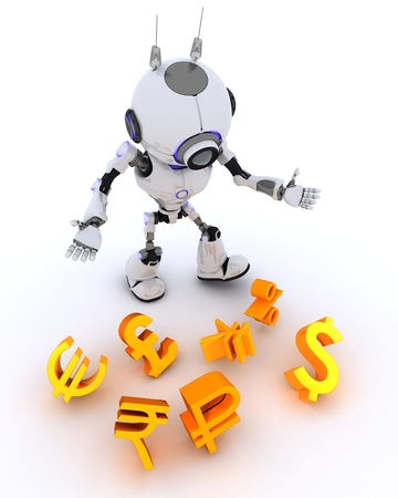 rupee: 3D Render of a Robot juggling finances