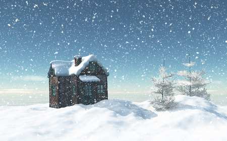 house: 3D render of a snowy landscape with little house and trees