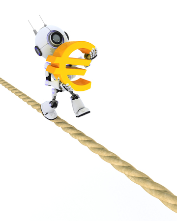 tight: 3D Render of a Robot on a tight rope Stock Photo