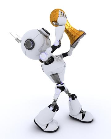 player: 3D Render of a Robot lifting football trophy