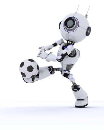 player: 3D Render of a Robot playing football Stock Photo