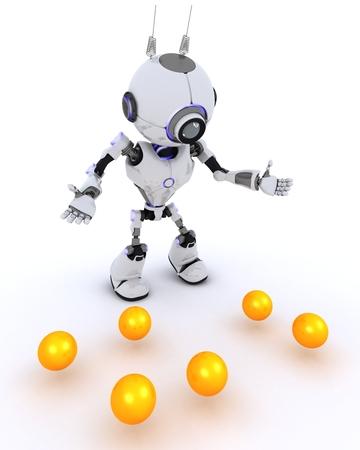 chrome man: 3D Render of a Robot juggler Stock Photo