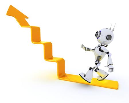 chrome man: 3D Render of a robot climbing a graph