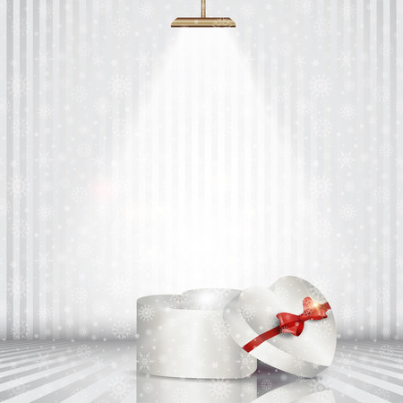 spotlit: christmas gift box under a spotlight