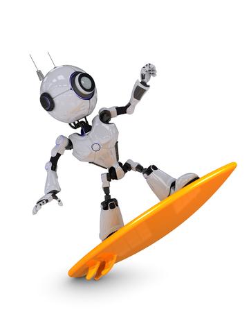 chrome man: 3D Render of a Robot surfer