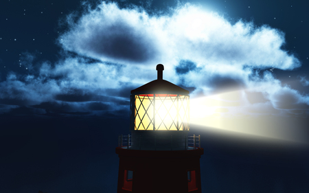 lighthouse at night: 3D render of a lighthouse at night Stock Photo