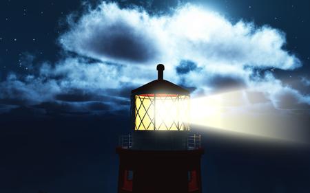 lightbeam: 3D render of a lighthouse at night Stock Photo