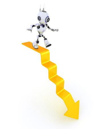 chrome man: 3D Render of a Robot on a graph