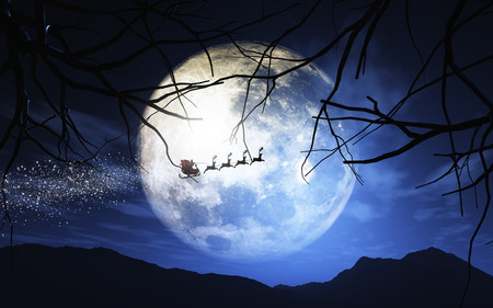 moonlit: 3D Christmas image of Santa and his reindeer flying through a moonlit sky