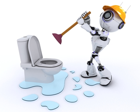 plunger: 3D Render of a Robot plumber fixing a leak Stock Photo