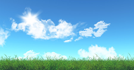 skies: 3D render of green grass and blue sky Stock Photo