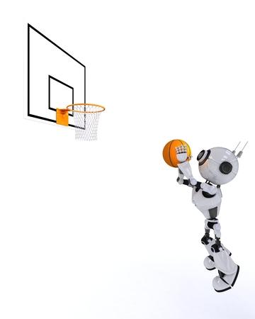 layup: 3D Render of a Robot Basketball player