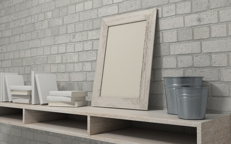 picture book: 3d render of a white interior bookshelf Stock Photo