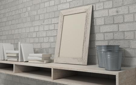 3d render of a white interior bookshelf Stock Photo