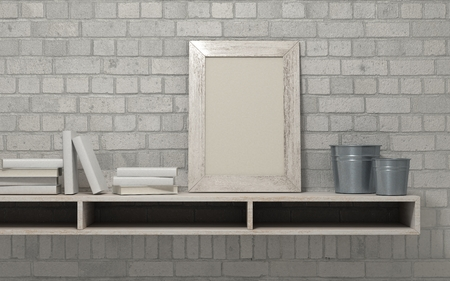 frame wall: 3d render of a white interior bookshelf Stock Photo