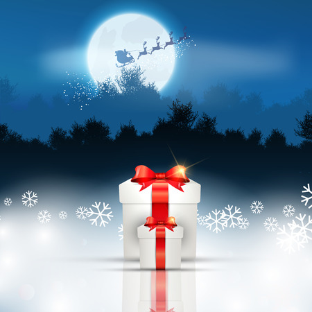 star ornament: Christmas gift background with santa flying through the sky Stock Photo