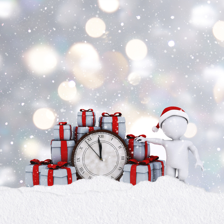clock: 3D figure on a silver Christmas background with stack of presents