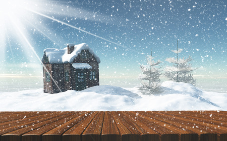 log cabin in snow: 3D render of a wooden table looking out to a snowy landscape