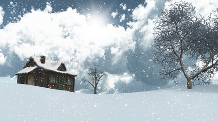 log cabin in snow: 3D render of a snowy landscape with house and trees
