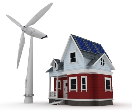 solar wind: 3d render of Solar panels on a house with wind turbine Stock Photo