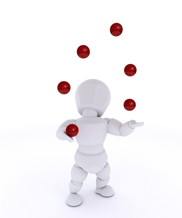 businness: 3D render of a man juggling with red balls