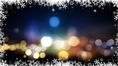bokeh lights: Festive Christmas background with bokeh lights and snowflakes Stock Photo