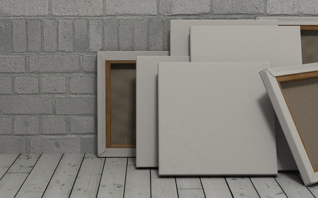 canvas art: 3d render of an Blank Canvas on exposed brick wall Stock Photo