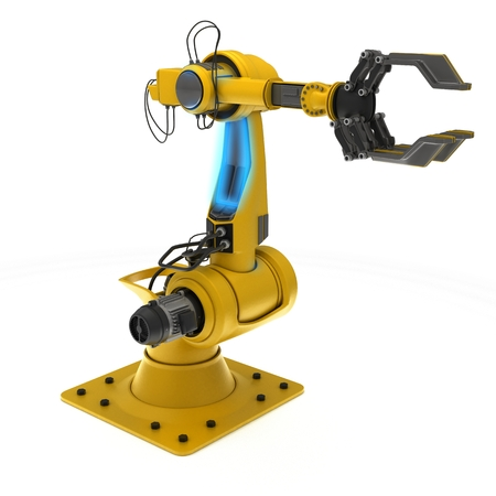 3D Render of an Industrial Robot Arm Stok Fotoğraf