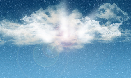 sky sun: Background of fluffy white clouds in a blue sky with falling snow Stock Photo