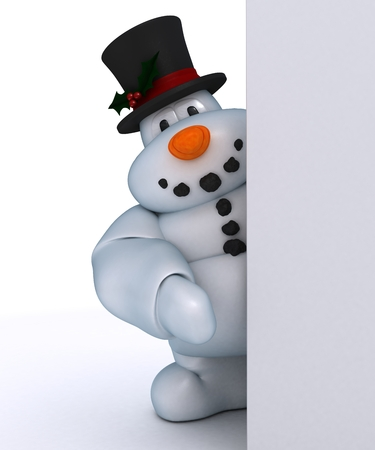 blank sign: 3D Render of a Snowman Character with blank sign Stock Photo