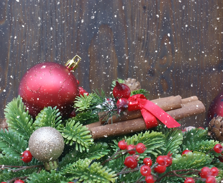 pinecone: Christmas decorations on wooden background with snowy effect Stock Photo
