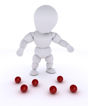 juggling: 3D render of a man juggling with red balls-dropped
