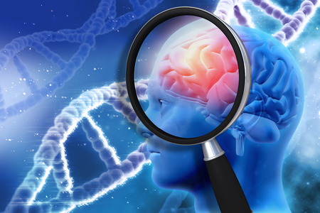 experiments: 3D medical background with magnifying glass examining brain depicting alzheimers research Stock Photo