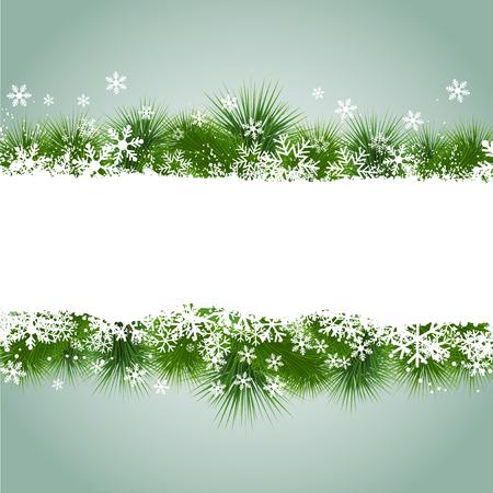 fir tree: Christmas snowflake and fir tree background