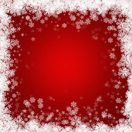 Red Christmas background with snowflakes and stars