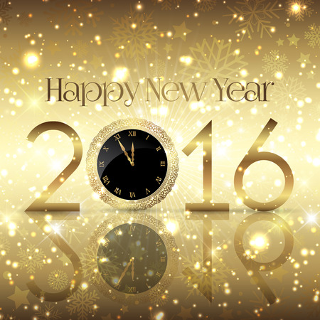 New Year: Złoty Happy New Year background z projektu zegara
