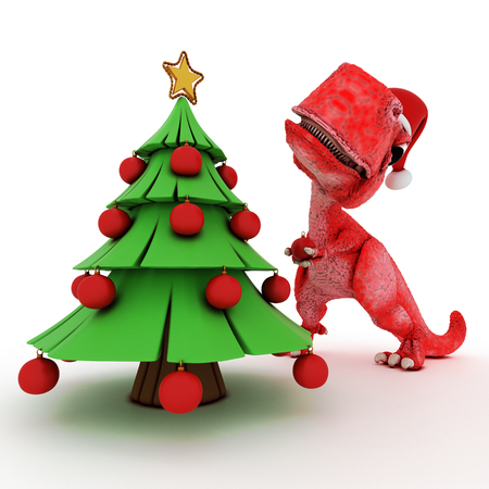 christmas cartoon: 3D Render of Friendly Cartoon Dinosaur with christmas gift tree