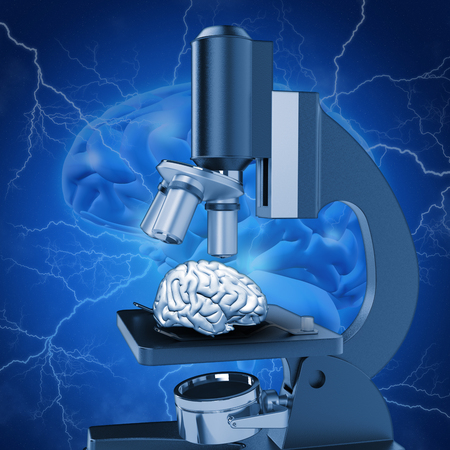 alzheimer: 3D medical image with brain under microscope depicting alzheimers research Stock Photo