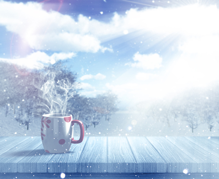 defocussed: 3D render of a Christmas mug on a wooden table against a defocussed snowy landscape
