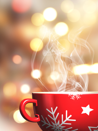 snowflake background: 3D render of a steaming Christmas mug on a bokeh lights background Stock Photo