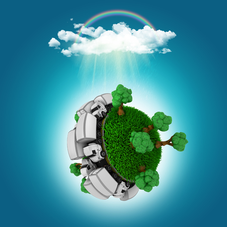 grassy: 3D render of a grassy globe with trucks and trees under a cloud with a rainbow Stock Photo