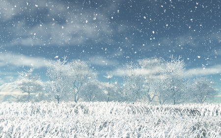snowy landscape: 3D render of a snowy landscape Stock Photo