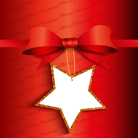 christmas star background: Christmas gift background with star shaped glittery label
