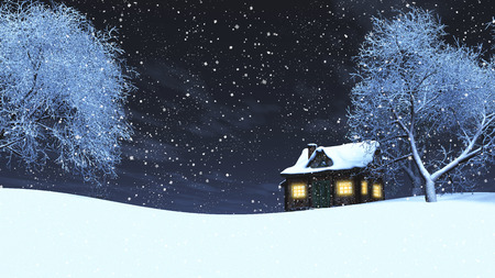 log cabin in snow: 3D render of a timber house in a snowy landscape at night